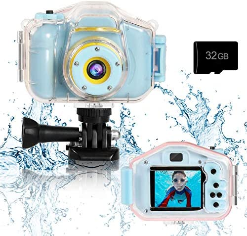 Agoigo Kids Waterproof Camera Toys for 3-12 Year Old Boys Girls Christmas Birthday Gifts Kids Underwater Sports Camera HD Children Digital Action Camera 2 Inch Screen with 32GB Card (Blue)