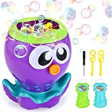 VATOS Kids Bubble Machine Toy for Toddlers with 1000+ Bubbles per Minute, Octopus Automatic Bubble Blower Maker for Party/Wedding | with 2 Extra Bubble Wands and Bubble Solution (2 x 4fl oz)