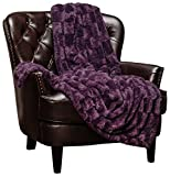 Chanasya Super Soft Fuzzy Faux Fur Elegant Rectangular Embossed Throw Blanket | Fluffy Plush Sherpa Cozy Violet Purple Blanket for Bed Couch Living Room Fall Winter Spring (50' x 65') - Aubergine
