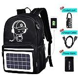 Solar Luminous Backpack with Detachable Solar Panel & USB Charging Port & Power Bank & Anti-Theft Lock, Waterproof Anime Black School Bag Daypack Travel Laptop Bag 15.6 in Boys Girls Men Teens