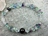 Genuine Shungite, Selenite and Rainbow Fluorite Healing Bracelet EMF Protection Focus