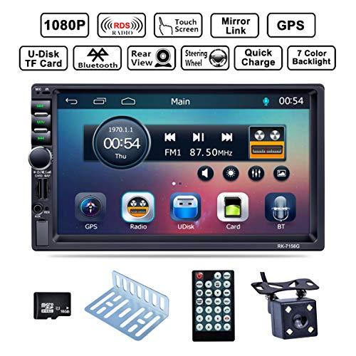 LSLYA Bluetooth Car Radio, Auto Radio Dual 2 Din Car Stereo Screen Bluetooth 7 '' GPS Navigation Touch MP5/TF/SD/USB/Media Player Steering Wheel Control/FM/AM/RDS Tuner and HD Radio,Black