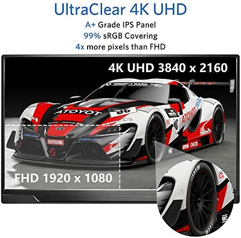Portable Monitor 4K - 17.3 Inch UHD FreeSync HDR IPS 100% Adobe RGB 3840x2160 Lightweight Eye Care Computer Display with Type-C Mini DP HDMI for Xbox PS4 Switch Laptop PC Phone Mac, with Smart Case 12