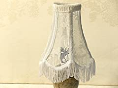 Shabby Chic table Lampshade, Made From Unique Antique Floral Lace, OOAK Handmade Country French Home Decor