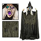 Creepy Looking 6 Feet Witch Halloween Decorations with Glowing Eyes