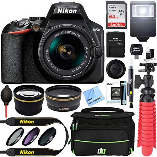 Nikon D3500 24.2MP DSLR Camera with NIKKOR 18-55mm f/3.5-5.6G VR Lens, Deco Gear Camera Bag (Medium), Sandisk 16GB Memory Card and Professional Editing Suite
