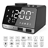 Alarm Clocks for Bedrooms, 4.2' LED Digital Alarm Clock Radio with FM Radio, Dual USB Port for Charger, Snooze, Bluetooth AUX TF Card Play, Battery Backup, Best Gift for Men