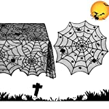Korlon 54'x 72' Rectangular Halloween Spider Web Tablecloth, 42' Round Black Polyester Lace Fabric Tablecloth for Halloween Party Decorations Table Decor, Set of 2