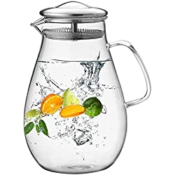 Hiware 64 Ounces Glass Pitcher with Stainless Steel Lid, Water Carafe with Handle, Good Beverage Pitcher for Homemade Juice and Iced Tea