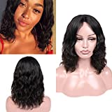 Wiger Brazilian Human Hair Wigs Middle Part Natural Wave Wig Short Wavy Natural Black Color Virgin Human Hair Wigs for Black Women African American (12')
