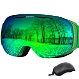 Gonex Magnetic Ski Goggles, Rimless Snowboard Goggles with Interchangeable Lens, Anti-Fog 100% UV 400 Protection Snow Goggles for Men& Women, Large Size Green Frame Green Lens