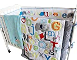 WM Letter Crib Bedding Set with Musical Mobile - 9 Piece