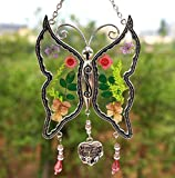 I Love You Aunt New Butterfly Suncatchers Glass Aunt Wind Chime with Pressed Flower Wings Embedded in Glass with Metal Trim Aunt Heart Charm - Gifts for Aunt -Aunt for Birthdays Christmas
