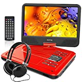 10.1 Inch Portable DVD Player for Kids with Swivel Screen, USB / SD Slot (RED)