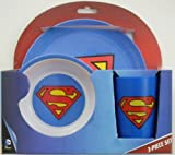 Superman Children's Blue Melamine Plate, Bowl and Cup Set by DC Comics