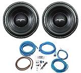(2) Skar Audio VD-10 D2 10' 500W RMS Dual 2 Ohm Subwoofers + 4 Gauge Complete Amp Kit