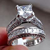 WensLTD 2-in-1 Womens Vintage White Diamond Silver Engagement Wedding Band Ring Set (#6, Silver)