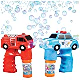 Bubble Machine Blower Gun Fire & Police Set by Art Creativity - Flashing Light and Sound Shooter Blasters - Children and Kids Toys - Fire Truck, Police Cruiser, 4 Solution Refills (Batteries Included)