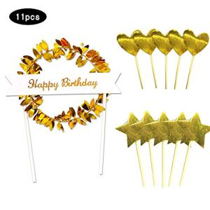 Uni-Fine 11PCS Happy Birthday Cake Topper Supplies,Golden Wreath Birthday Party Cake Decoration, Heart Star Shape Design Cupcake Toppers Picks Birthday Cake Supplies Decorations Baby Shower 51ZW38OdVVL