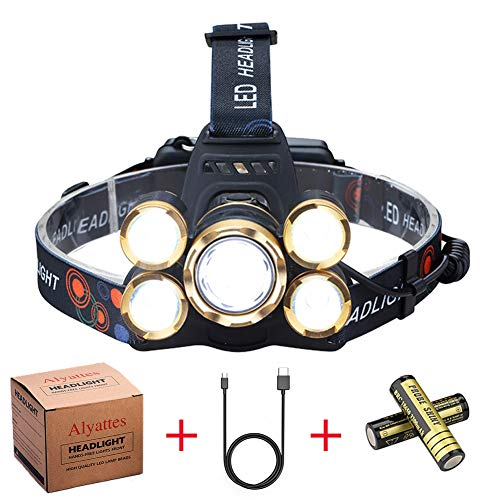 NEWEST Headlamp 12000 Lumen Brightest CREE LED Work Headlight USB Rechargeable, 4 Modes IPX4 Waterproof Zoomable Head Lamp Best Head Lights for Camping Cycling Hiking Outdoors