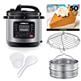 GoWISE USA 12-in-1 Electric High-Pressure Cooker, Canner with Measuring Cup, Stainless Steel Rack and Steam Basket, and Spoon (12.5-QT, Stainless Steel)