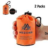 PE Emergency Sleeping Bag Survival Bivy Sack- Use as Emergency Space Blanket, Lightweight Sleeping Bag, Survival Gear for Outdoor, Hiking, Camping - Includes Nylon Sack with Carabiner (Orange-2 Pack)