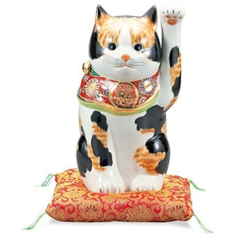 "Japanese drawn Ceramic Porcelain kutani ware. Fortune cat. Lucky cat. Beckoning cat. Tortoiseshell."" Japanese ceramic Hagiyakiya 1419"