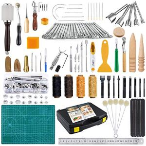 Caydo Leather Craft Tools Kit with Instructions, Leather Sewing Tools, Punch Tools, Rivets Tools, Stamping Set and…
