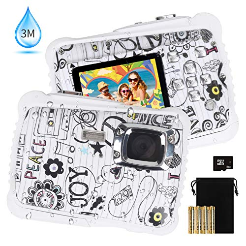 Kids Waterproof Camera, DECOMEN Digital Underwater Camera for Boys and Girls, 12MP HD Action Sport Camcorder with 2.0″ LCD, 8X Digital Zoom, Flash, Mic and 8G SD Card.