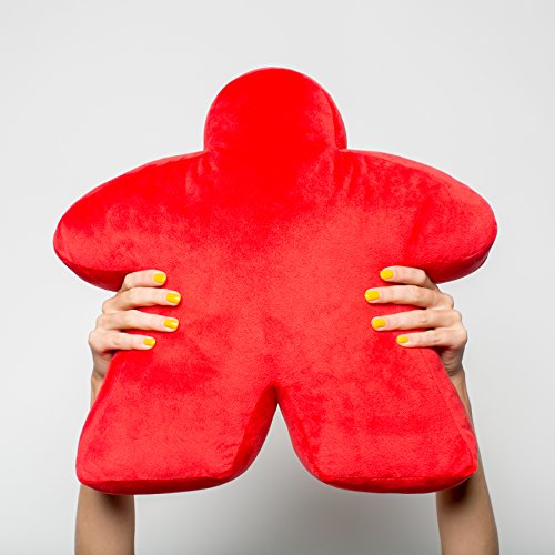 Red Meepillow - The Meeple-Shaped Plush Pillow! Perfect for fans of board games like Carcassonne, Settlers of Catan, Ticket to Ride, Pandemic, 7 Wonders, Power Grid, Agricola, Karuba, Tokaido & more!