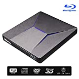 External Bluray DVD Drive, MthsTec USB 3.0 and Type-C 4K Blu-Ray DVD Burner 3D Slim Optical Bluray CD DVD Drive Compatible with Windows XP/7/8/10, MacOS, Linux for Macbook, Laptop, Desktop