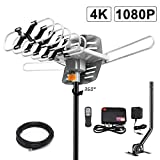 Amplified Digital Outdoor Antenna -150 Miles Range-360 Degree Rotation Wireless Remote-Snap- Wireless Remote Control - UHF/VHF 4K 1080P Channels- On Installation Support 2 TV