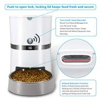 HoneyGuaridan-A36-Automatic-Cat-Feeder-Pet-Automatic-Food-Dispenser-with-Stainless-Steel-Food-Bowl-Designed-for-Cat-Small-Medium-Sized-Dog-Rabbit-Batteries-and-Adapter-Power-Support