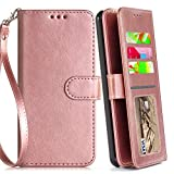 LG Stylo 4 Case, Phone Wallet for Stylo 4 Plus/Stylo 4+/Q Stylus 4 with Protector Screen Leather Wallet Wrist Strap with Kickstand Credit Card Holder for Men Boys Girls/Women (Rose Gold (Pure))