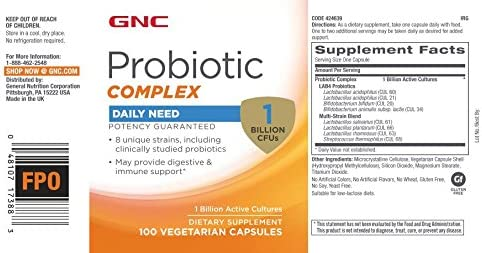 GNC Probiotic Complex Daily Need with 1 Billion CFUs, 100 Capsules, Daily Probiotic Support 2