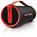 AXESS SPBT1033 Portable Bluetooth Indoor/Outdoor 2.1 Hi-Fi Cylinder Loud Speaker with Built-In 4' Sub and FM Radio, SD Card, USB, AUX Inputs in Red