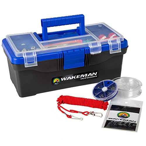 Fishing Single Tray Tackle Box- 55 Piece Tackle Gear Kit Includes Sinkers, Hooks Lures Bobbers Swivels and Fishing Line By Wakeman Outdoors Blue