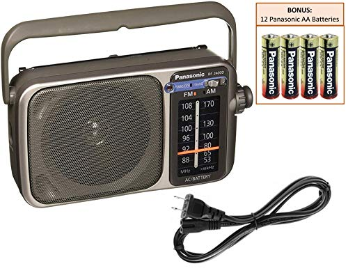 Panasonic RF-2400D Portable AM/FM Radio Player | Rugged Shortwave Pocket Radio | Battery Operated Vintage Transistor Radio | Large Tuning Knob | Best Reception | Includes 12 Panasonic AA Batteries