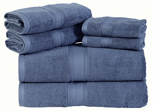 HILLFAIR Premium 600 GSM 6 Piece Towel Set- 2 Bath Towels, 2 Hand Towels & 2 Washcloth - Blue Cotton Bath Towel -Machine Washable, Hotel Quality Towels,Super Soft & Highly Absorbent Cotton Towels