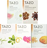 Tazo Herbal Tea 5 Flavor Variety Pack Sampler (Pack of 5, 100 Bags Total)