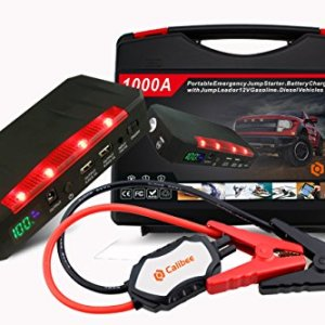 CALIBEE Ultimate 1000A 12V Car Portable Jump Starter & 15000mAh Battery Booster Kit – Emergency Auto Jumper Safety Pack Power Cables, LCD Display, LED Flashlight & USB Charging Station