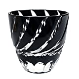 Edo Kiriko Cut Glass Small Sake Cup Double Shop Glass Nami Spiral Wave Pattern - Black