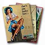 SET of Three (3) LUCKY LURES Vintage Fishing Ad Art Poster Pinup Prints - each measures 24' high x 18' wide (610mm high x 458mm wide)