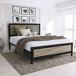Queen Size Bed Frame with Headboard/Platform Bed/Metal Bed Frame/Strong Slat Support/No Box Spring Needed, Black