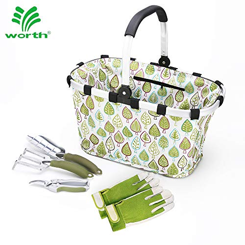 "Worth Garden Tool Set 5 pc Heavy Duty Gardening Tools Kit, 7"" Bypass Pruner Aluminium Trowel, Cultivator, Foldable Basket, Gloves, Gardening Gifts for Woman and Man"