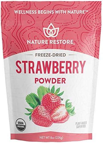 Nature Restore USDA Certified Organic Freeze Dried Strawberry Powder, 8 Ounces, Non GMO, Gluten Free, Vegan 1