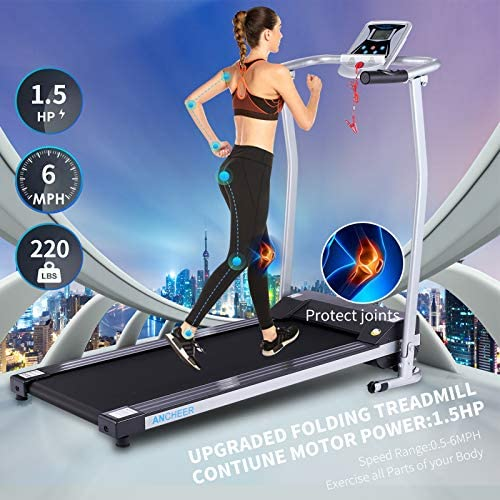 ANCHEER Folding Treadmill, Treadmills for Home with LCD Monitor Motorized,Pulse Grip and Safety Key,Top Indoor Exercise Machine Trainer Walking Running for Home & Office Workout 2