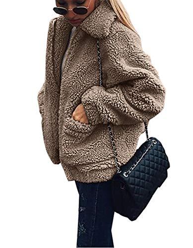 PRETTYGARDEN Women's Fashion Long Sleeve Lapel Zip Up Faux Shearling Shaggy Oversized Coat Jacket with Pockets Warm Winter (Coffee, XXX-Large)