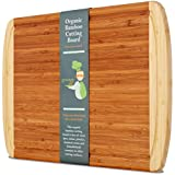 Extra Large Organic Bamboo Cutting Board for Kitchen - LIFETIME REPLACEMENT BOARDS - Best Wood Butcher Block with Juice Groove for Chopping Vegetables & Carving Meat & Wooden Serving Tray for Cheese