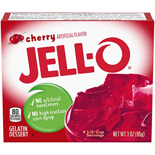JELL-O Instant Cherry Gelatin Dessert Mix (3 oz Boxes, Pack of 6)